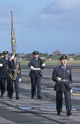 Flt Lt 'Bertie' Archer, Acting CO 74(R) Sq, leads the disbandment parade at Valley